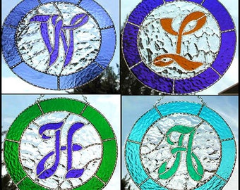 "Monogram Stained Glass Suncatcher Design, Stained Glass Letters, Mother's Day, Glass Sun Catcher, Choose your Letter & Color - 9 1/2"" - 9730"