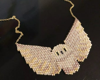 Brick stitch Beaded Owl pendant necklace with gold details
