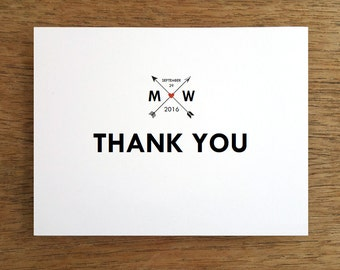 Wedding Thank You Card Template - Monogram Arrows - Printable Thank You Note - Hearts and Arrows Thank You - Thank You Note Download PDF