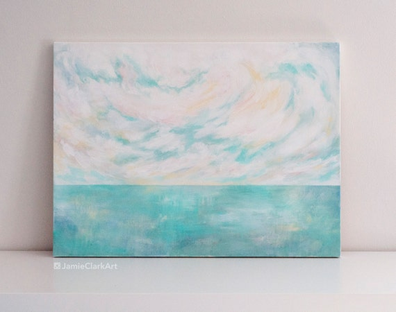 "Original 18x24 Painting ""Pastel Seascape"" FREE SHIPPING"