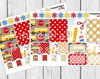 16 Planner Stickers Full Box Half Box Flags School Teacher Planner Stickers eclp fits Erin Condren PS51