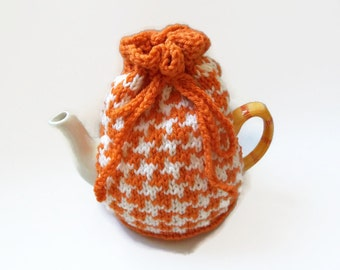 tea cozy hand knitted tea pot  cosy orange and cream