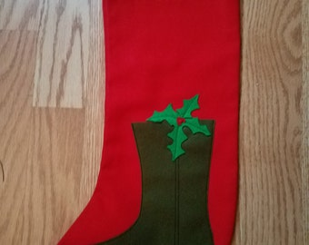 Vintage Christmas Stocking with Boot with Holly