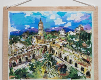 Jerusalem Citadel Tower of David Jerusalem Old City Israel Jewish Painting Jewish Gift Pesach Judaica Wall Art