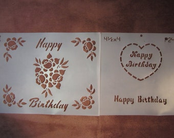 "2 Happy Birthday stencils, 4""x4.5"" and 10""x8"" with roses"