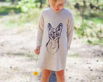 Fox dress Girl dress Fox print Little girl dress Baby girl dress Toddler dress Animal dress Kids dress Knit dress Infant dress