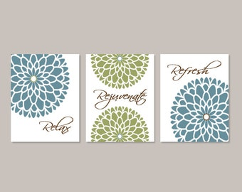 Floral Flower Wall Art, Bathroom Decor, Bathroom Wall Decor, Bathroom Art, Relax Rejuvenate Refresh, Blue Green Set of 3 Prints Or Canvas