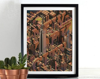 New York City Poster Print Wall Art Hanging Print Home Décor Isometric Manhattan, Times Square, Empire State Building, Chrysler Building