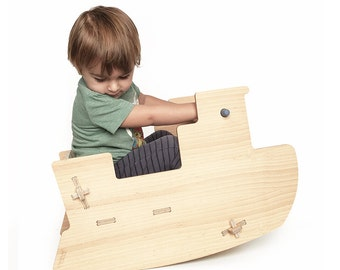 Wooden Rocking Boat toy / Baby Toddler Toy / Eco friendly / No metal parts or  screws / Scandinavian Style
