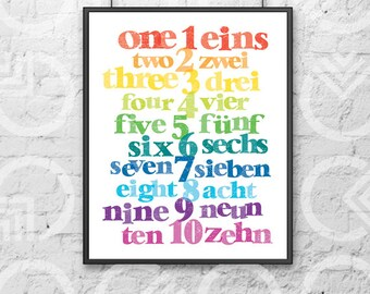 "Instant Download - Printable - 8""x10"" Art Print - German and English Numbers - Nursery Decor - Bilingual Baby - Colorful - Educational"
