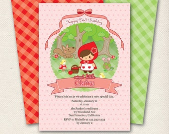 Red Riding Hood | Printable Birthday Invitation | Personalized Digital Download