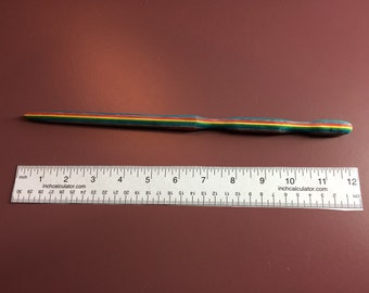 "Rainbow Wood Wand - One of a Kind Gift 11.5"""