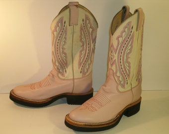 """Justin Western Boots Pastel Pink Cream White Leather L5037 11"""" Mid Calf Top Stitching Tekno Crepe Rubber Sole Womens US Size 6"""