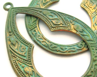 2 Vintage Elongated Hoop Charms, 46 mm, Patina Green Teal Verdi Gris Brass Hoops, Exotic Etched Patterned Moroccan Style Etching, Destash