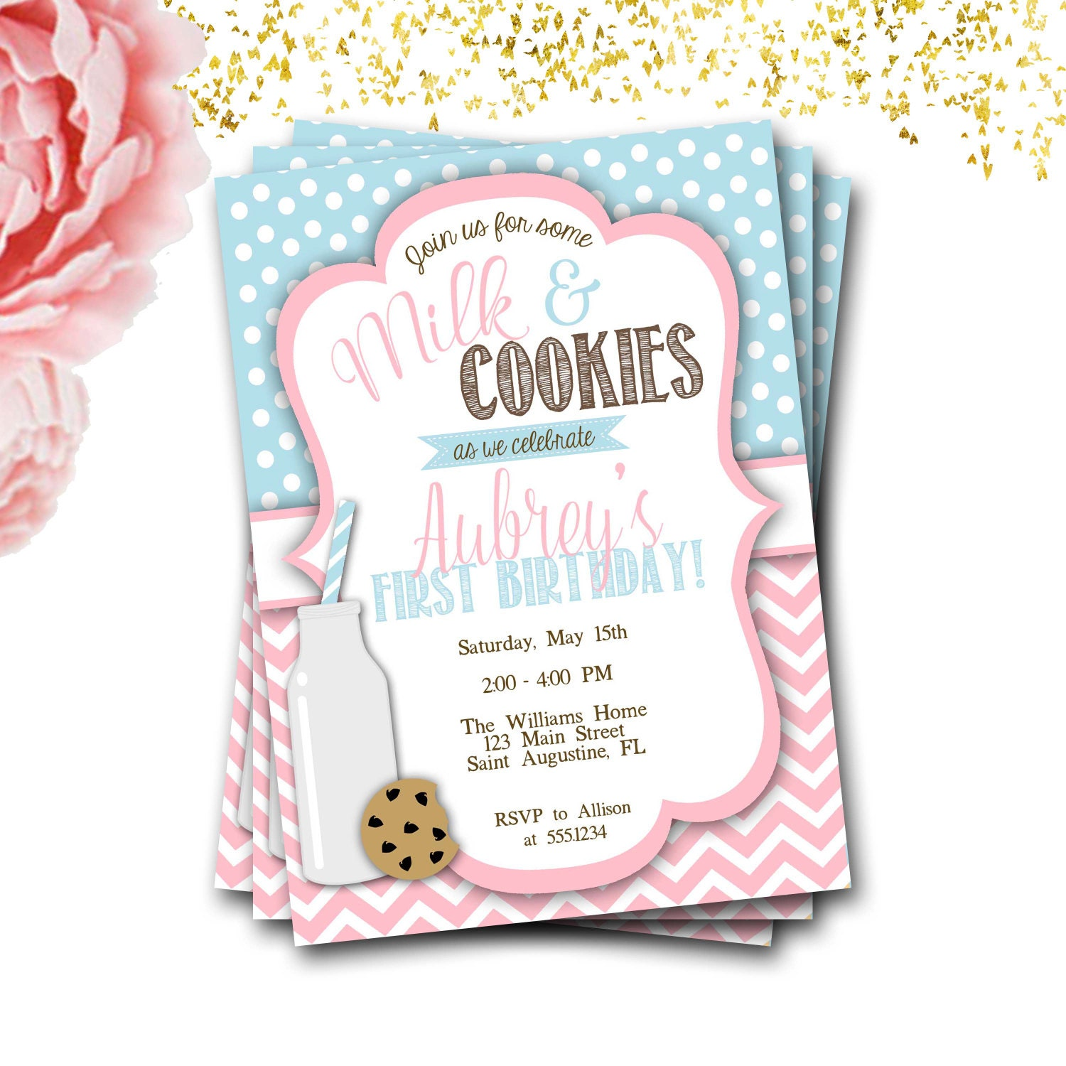 Diy First Birthday Invitation Templates Milk And Cookies