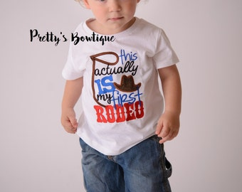 This acutally is my first rodeo -- Boys Bull rider t shirt-- Baby boy rodeo bodysuit-- Boy Bull rider Bodysuit--western t-shirt--Rodeo shirt