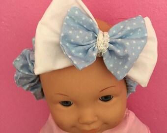 Newborn baby blue star and white double bow headband, baby elasticated headband, baby fabric headband