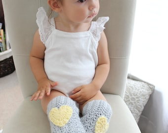 Yellow and Gray Leg Warmers, Heart Leg Warmers for Baby/Toddler, Heart Leg Warmers - Crochet Leg Warmers - Newborn-3T