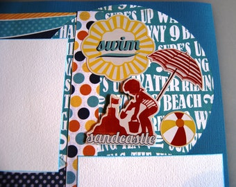 "Sun, Relax, Hanging Out   -  Handmade 12"" x 12"" Double Page Scrapbook pages"