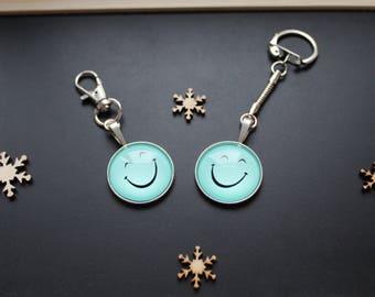 Blue smile keychain or handbag smiley emoticon