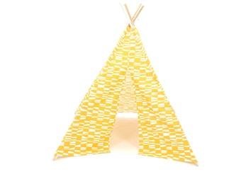 SALE!! Poles Included Teepee Play Tent Yellow and White Geo Four Panel