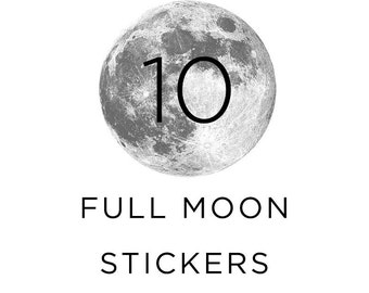 Full Moon Stickers, Silver moon, Pack of 10, For Stationary