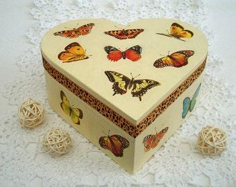 Yellow wooden box keepsake heart box trinket box jewelry organizer decorative boxes accessories storage wood chest jewelry box butterfly