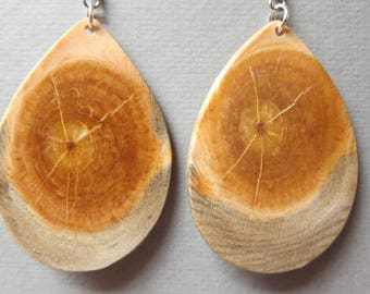 Unique X Lrg Glowing Pine Wood Earrings Glows when backlit handcrafted ExoticwoodJewelryAnd Ecofriendly