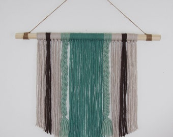 Blue Stripes: Hand Woven Wall Hanging, Woven Tapestry