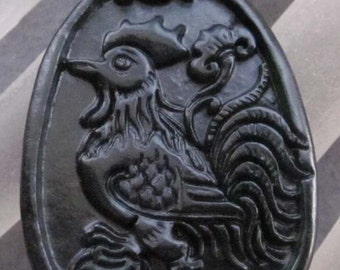Natural Stone Chinese Zodiac Rooster Amulet Pendant 40mm x 28mm  TH128