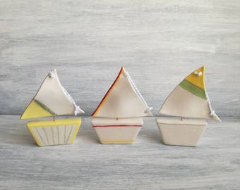 Ceramic sailboat-Wedding favors-Baptism favors-gifts for him-ceramic favors-decor home-Home decor