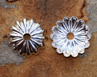 4  Silver Plated 12mm Petal Bead Caps - 2 pairs  - Nunn Designs