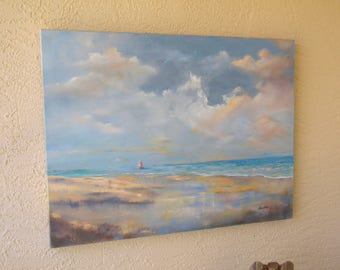 "Large original oil painting sailboat sky water beach, by Nancy Casey  40x30"" 1.5"" painted sides - no frame needed."