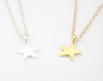 Tiny STAR Necklace - Sterling Silver or Gold