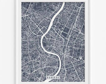 Bangkok Map, Thailand Poster, Bangkok Poster, Bangkok Print, Thailand Print, Thailand Map, Street Map, Home Decor, Mothers Day Gift