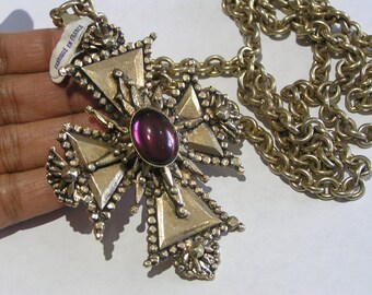 MASSIVE  Richelieu Cross charm . Pendant . Necklace  ~ French Made Jewelry