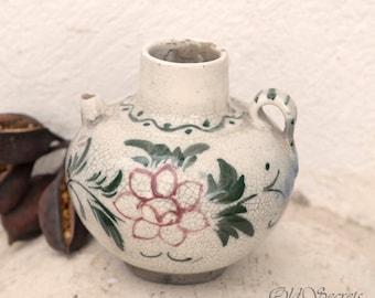 Antique Ceramic Vase, Hand Painted Pitcher, Glaze Floral Pottery Vase, Rustic Small Flower Vase, Handmade Pottery, Bud Vase, Home Decor