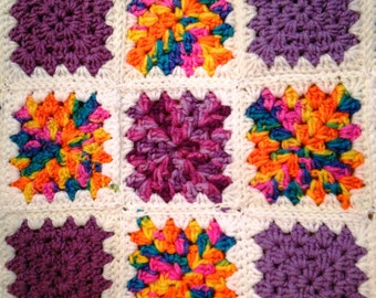 Crochet Baby Blanket, Granny Squares, Handmade Baby Blanket, Baby girl blanket,  Baby afghan blanket, Nursery decor