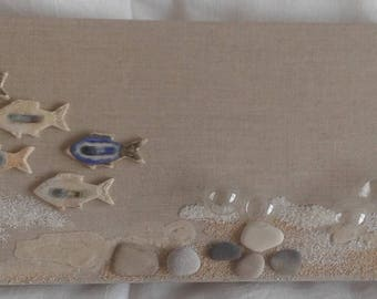 linen bubbles sand theme of the sea glass fish painting