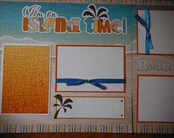 Island Time pool  Hawaii BEACH OCEAN TROPICAL Premade 12x12 Scrapbook Pages for family vacation