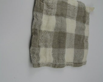 Handmade Linen Exfoliating Towel / Spa Wash Cloth / Spa Hand Towel --- Plaid / Dye Free