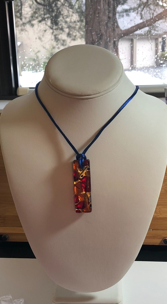 Murano Glass Rectangle Pendant Topaz Red On Royal Blue Satin Cord with Sterling Extension