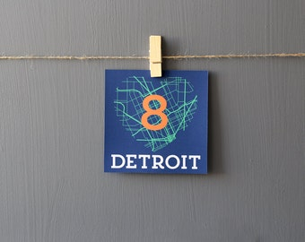 Detroit Tigers Modern Map Table Numbers Wedding Party