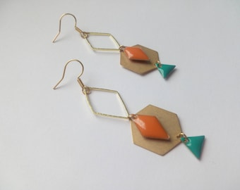 Earrings golden orange and blue