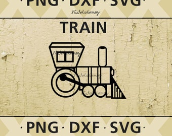 Train silhouette clipart - DIGITAL DOWNLOAD - png files - dxf files - svg files -cut files - scrapbooking - stencil - stencils art