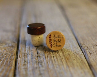 BEST PRICE ** Lot of Personalized Custom Wine Stopper, Laser Engraved Cork Bottle Topper, Reusable Rustic Wedding Favor --WS-L-DarlasShower