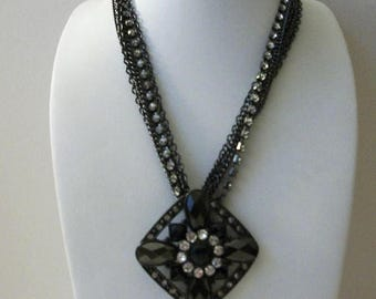 ON SALE Vintage Dramatic Dark Metal Clear Rhinestones Faceted Glass Necklace 40217