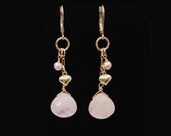 Rose Quartz Gold earrings / Rose Quartz earrings / Rose Quartz jewelry / Pink dangle earrings / Pink Quartz earrings / Rose Quartz Love