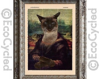 Mona Lisa Siamese Cat on Vintage Upcycled Dictionary Art Print Book Art Print Recycled Amazing Animalia book lover gift upcycled book page