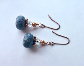 Blue Sponge Coral Earrings With Crystals And Copper